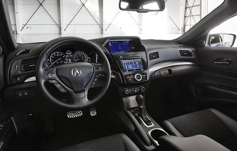 Interior of 2017 ilx tech at Acura Pickering