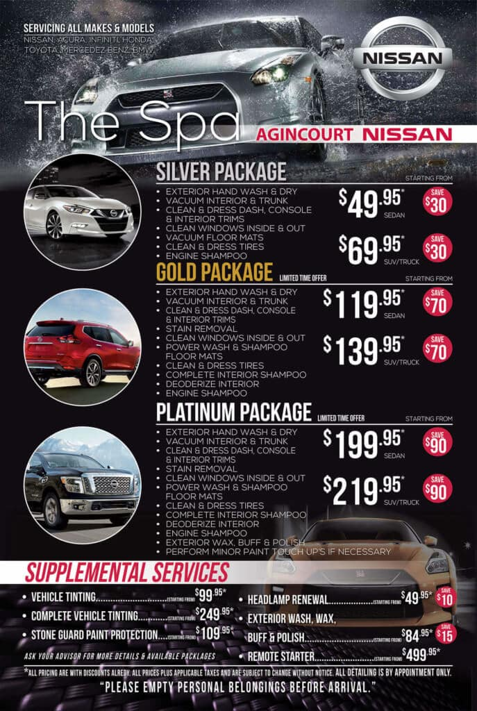 Detailing packages at Agincourt Nissan in Scarborough start from $49.95!