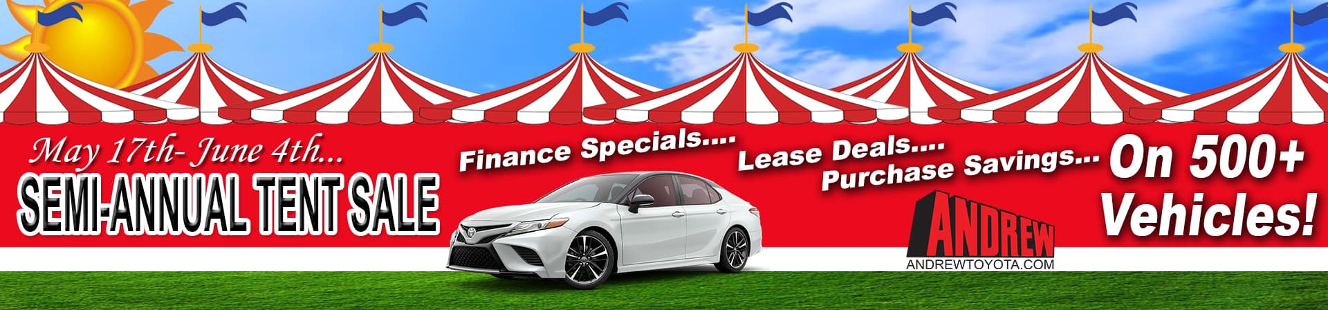 Promo Banner for tent sale at Andrew Toyota.