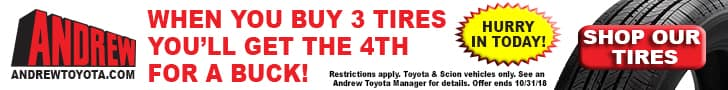 Purchase tires at Andrew Toyota and save!