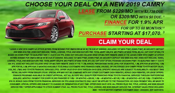 Click here to view our 2019 Camry deals at Milwaukee's Andrew Toyota in Glendale, WI.