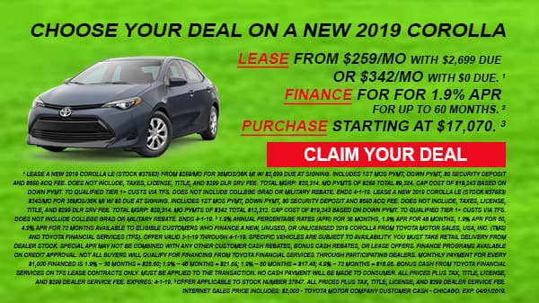 March 2019 Corolla deals are at Milwaukee's Andrew Toyota in Glendale.
