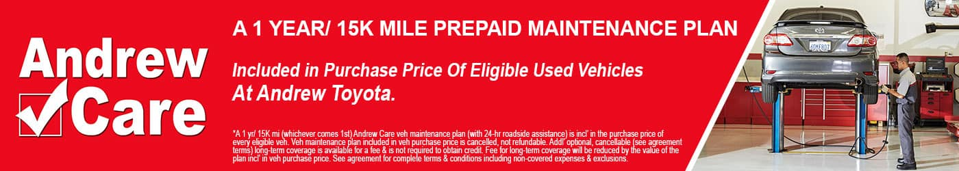 Andrew Care is a complimentary prepaid maintenance plan that comes with eligible used vehicles at Milwaukee's Andrew Toyota in Glendale, Wisconsin.