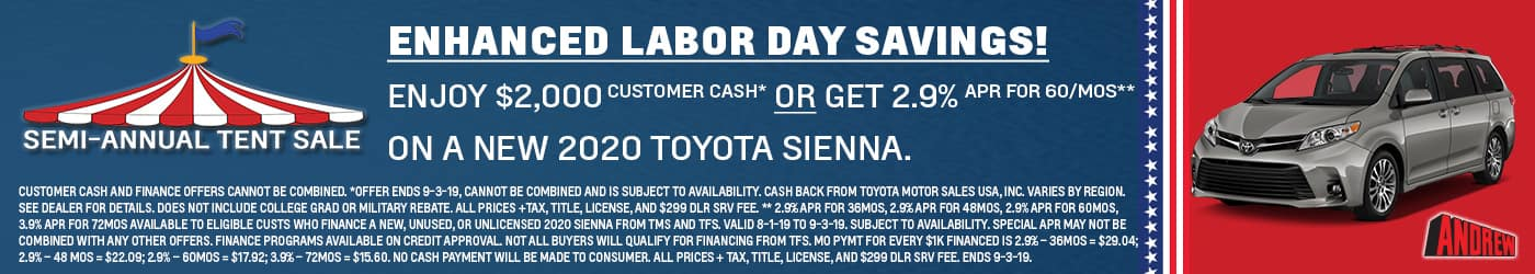 Labor Day Toyota Sienna sales are at Milwaukee's Andrew Toyota.