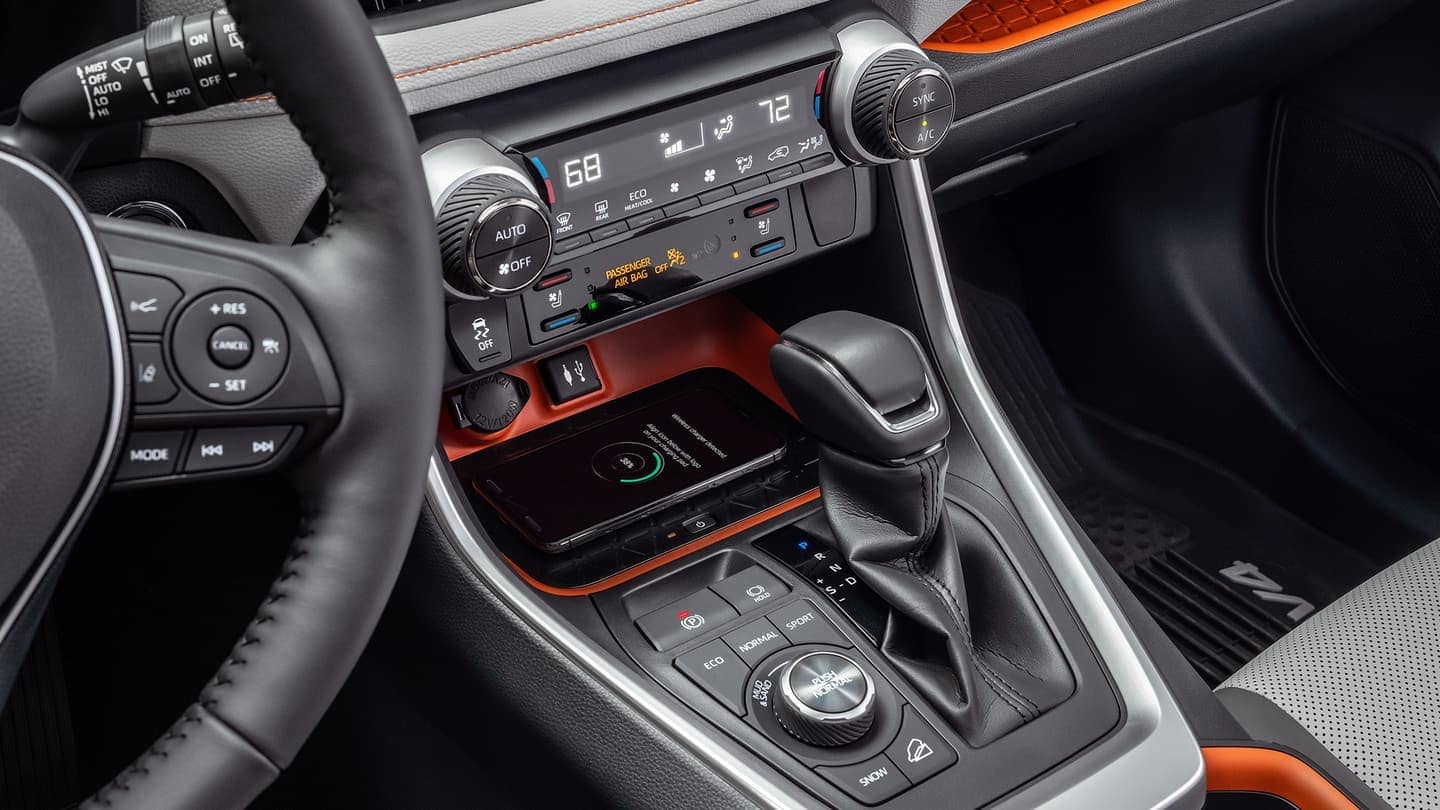 2019 Toyota RAV4 interior wireless charging feature