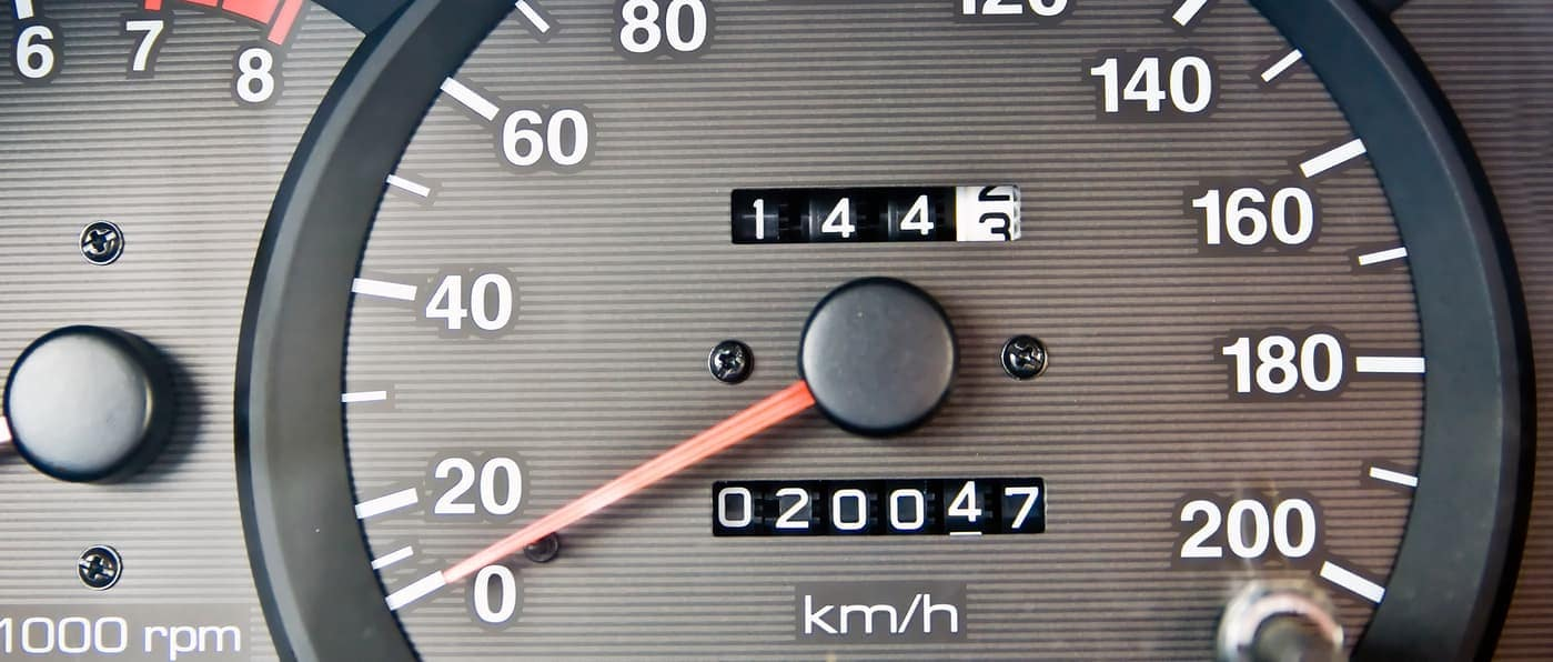 close up of car mileage