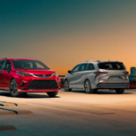 Toyota Sienna models parked at dusk