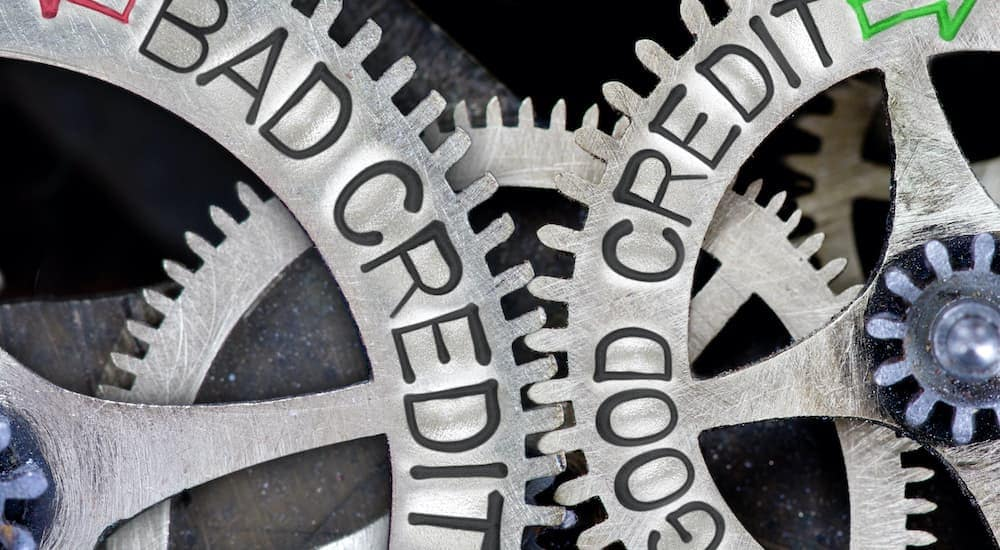 A close up of gears is shown, one says good credit and another days bad credit.