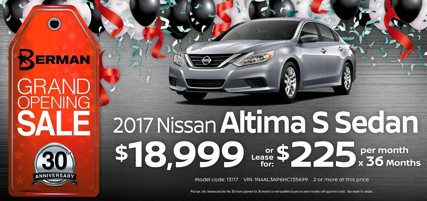 2017 Nissan Altima Berman Nissan of Chicago February Grand Opening Sale
