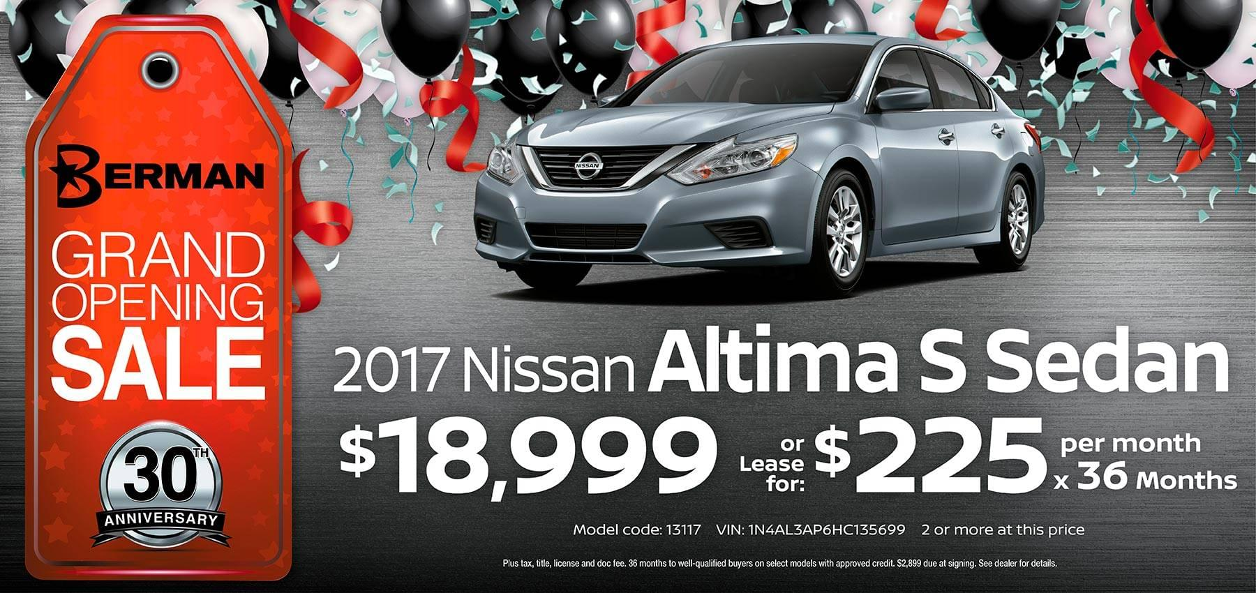 2017 Nissan Altima Berman Nissan of Chicago March Grand Opening Sale