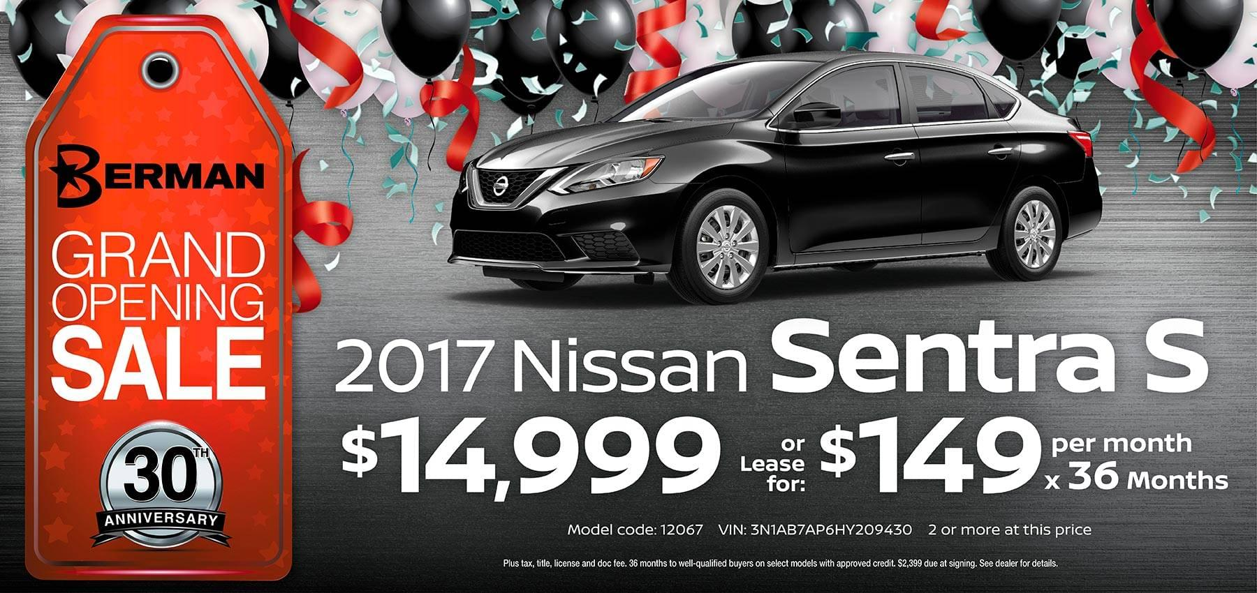 2017 Nissan Sentra Berman Nissan of Chicago March Grand Opening Sale