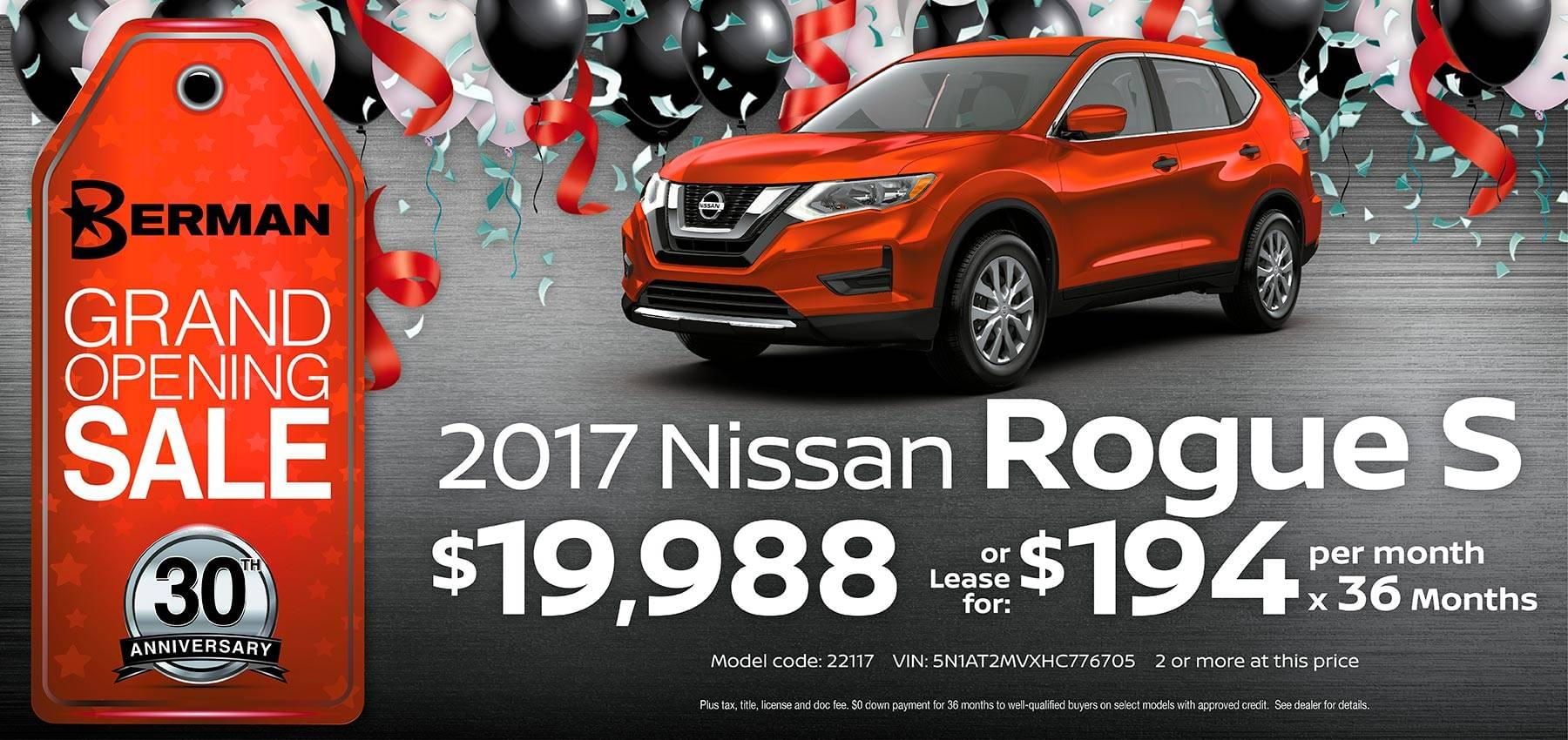 2017 Nissan Rogue Berman Nissan of Chicago February Grand Opening Sale
