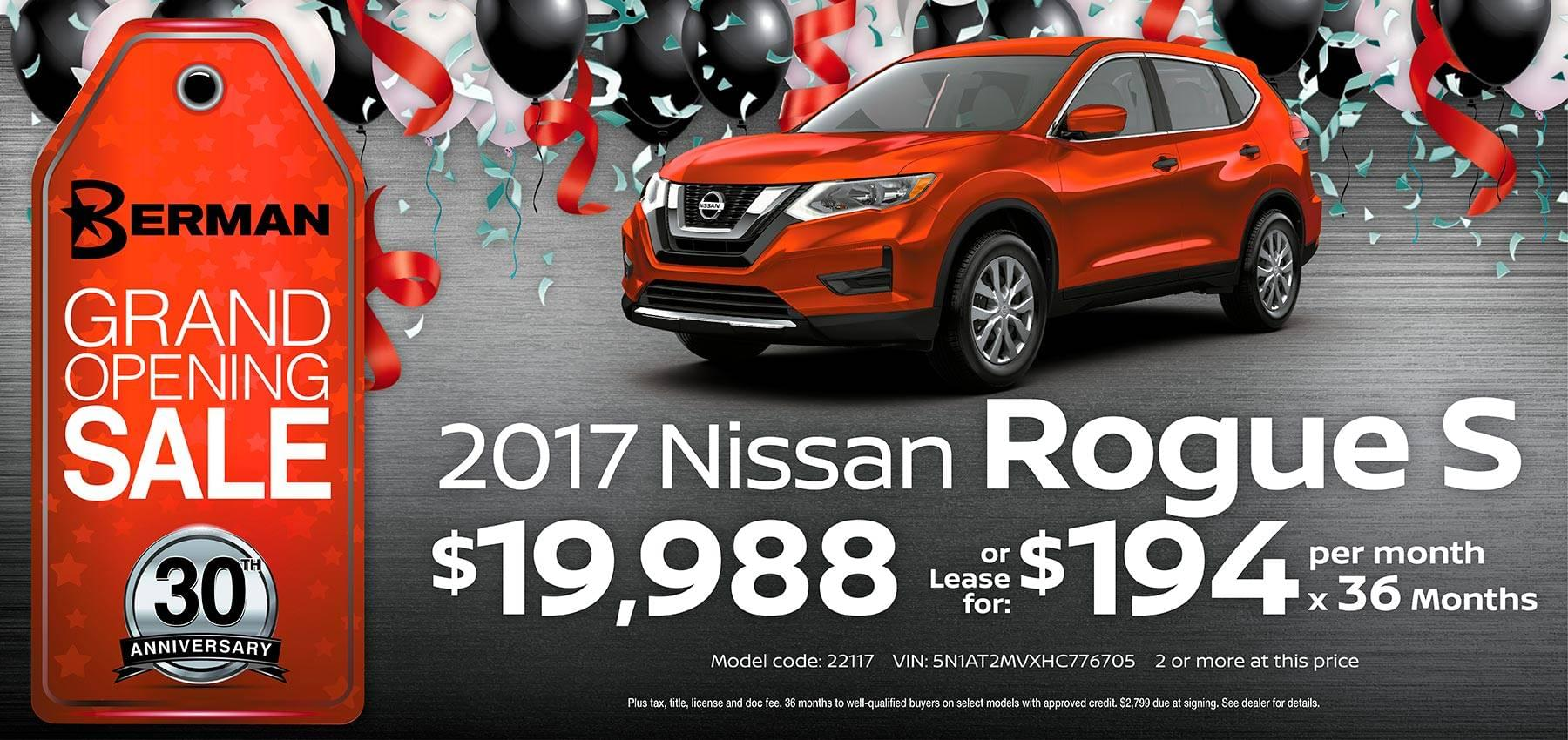 2017 Nissan Rogue Berman Nissan of Chicago March Grand Opening Sale