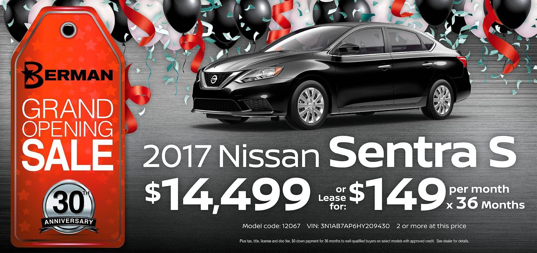 2017 Nissan Sentra Berman Nissan of Chicago February Grand Opening Sale