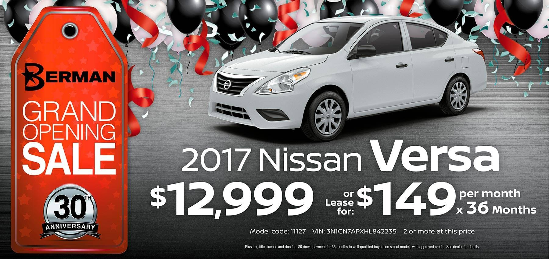 2017 Nissan Versa Berman Nissan of Chicago February Grand Opening Sale