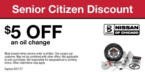 Senior Citizen Discount: $5 OFF an oil change