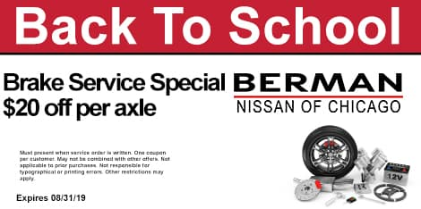 Back To School Special: Brake Service Special: $20 OFF per axle