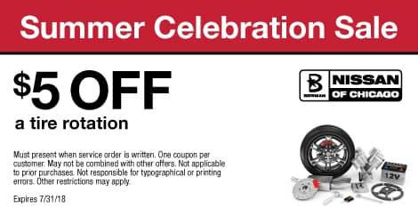 Summer Celebration Sale: $5  OFF a tire rotation