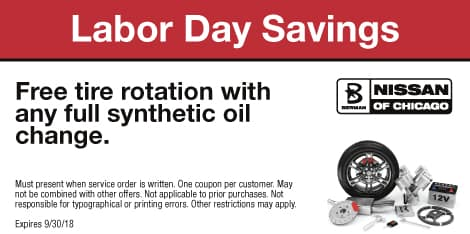 Labor Day Savings: Free tire rotation with any full synthetic oil change