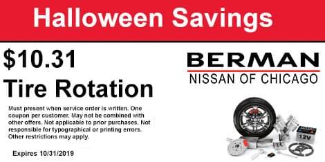 Halloween Savings: $10.31 Tire Rotation