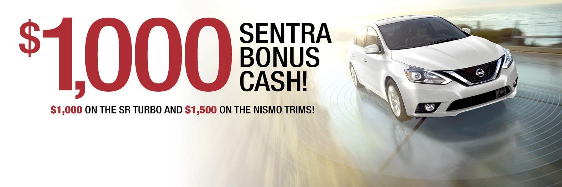 Up to $1,500 Sentra Bonus Cash on SR Turbo and Nismo Trims!