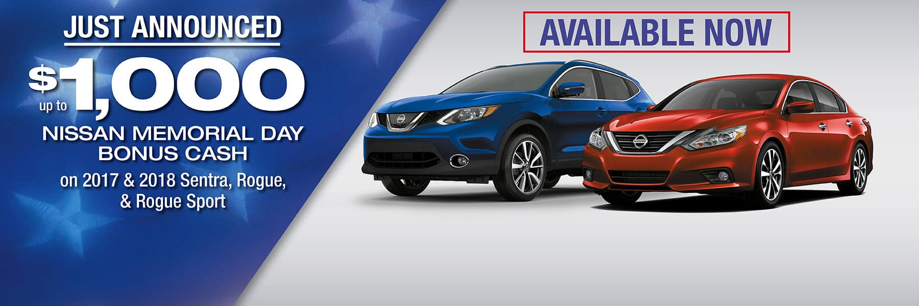 Up to $1,000 Nissan Memorial Day Bonus Cash on 2017 and 2018 Nissan Sentra, Nissan Rogue, and Nissan Rogue Sport at Berman Nissan of Chicago!