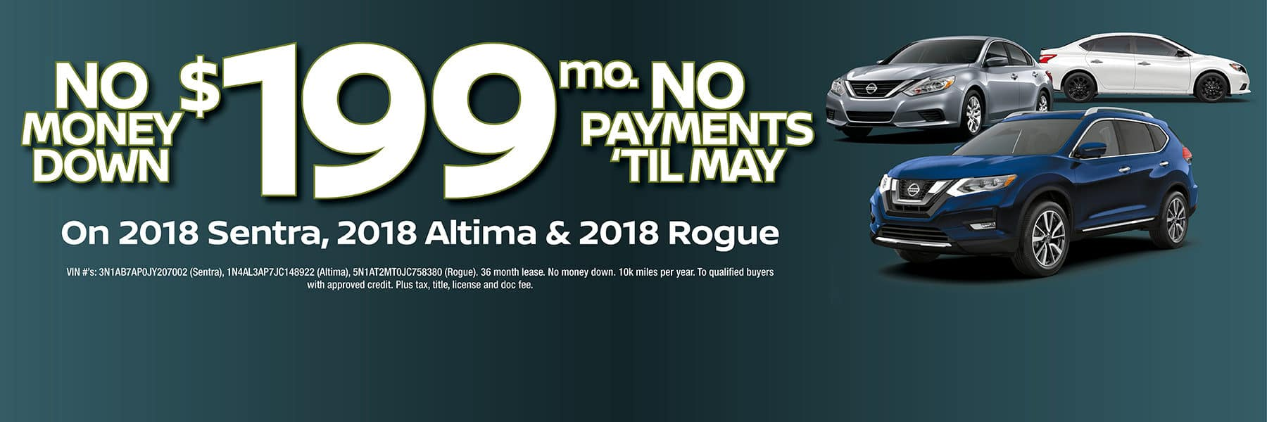 Take your pick! 2018 Nissan Altima, Sentra, or Rogue for $199 a month with No Money Down at Berman Nissan of Chicago!