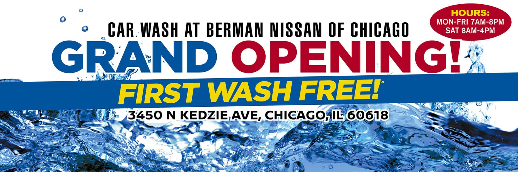 Car Wash at Berman Nissan of Chicago! Celebrate Our Grand Opening Event! First Wash Free!
