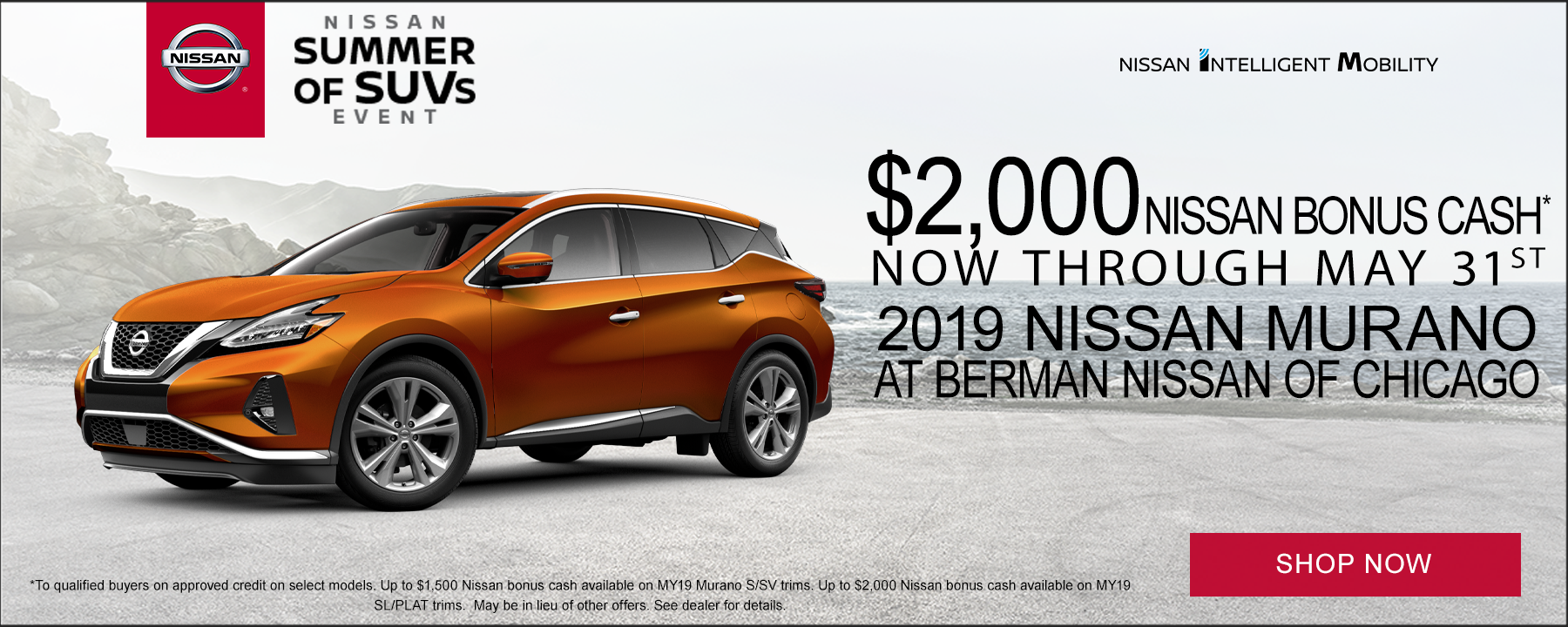 Up to $2,000 Bonus Cash available on 2019 Nissan Murano at Berman Nissan of Chicago!