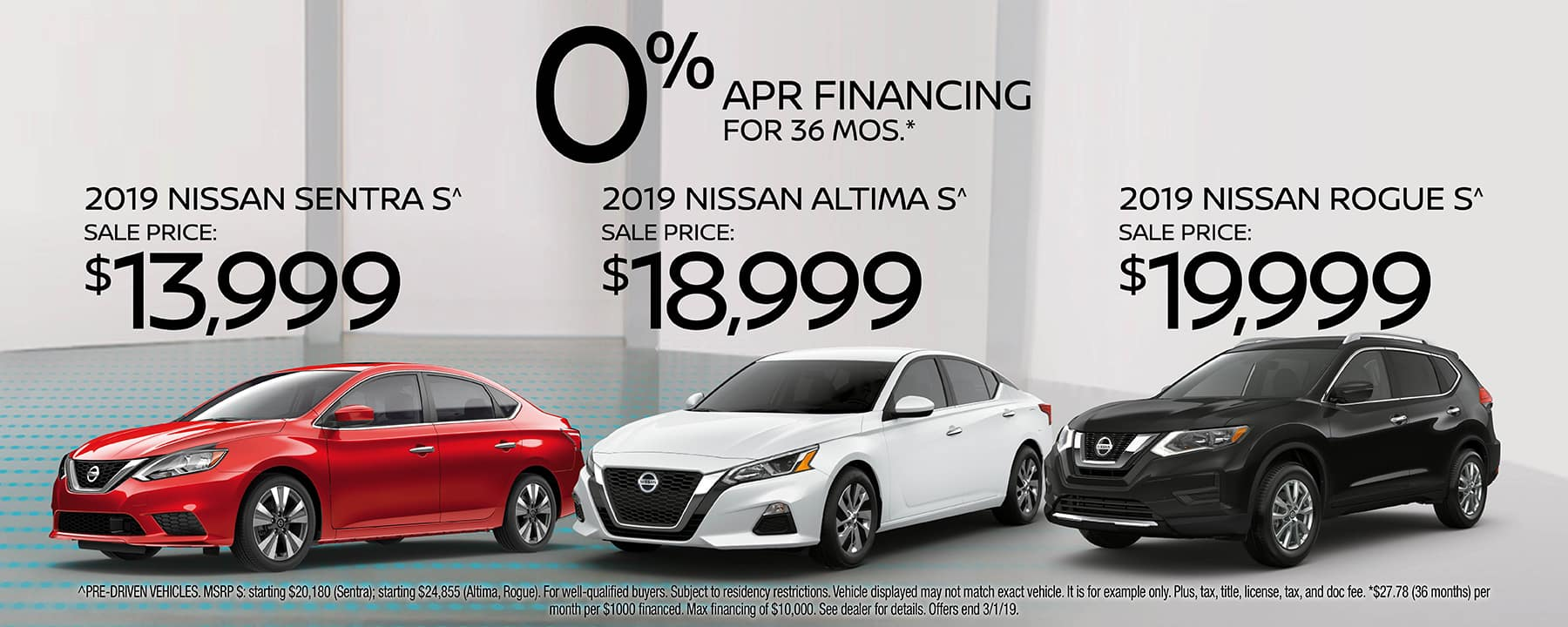 Pre-Driven 2019 Vehicles at prices you won't see anywhere else. Choose between 2019 Sentra, 2019 Altima, or 2019 Rogue at Berman Nissan of Chicago!