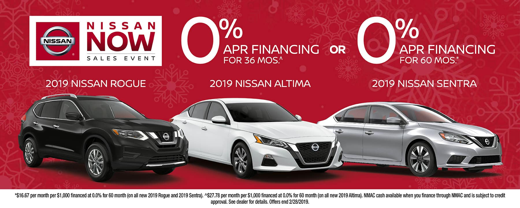 Take advantage of 0% APR Financing on a 2019 Nissan Sentra, 2019 Nissan Rogue, or 2019 Nissan Altima at Berman Nissan of Chicago!