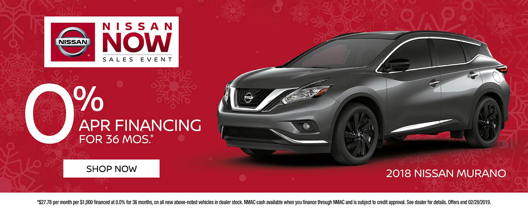 0% for 36 months available on 2019 Nissan Murano at Berman Nissan of Chicago!
