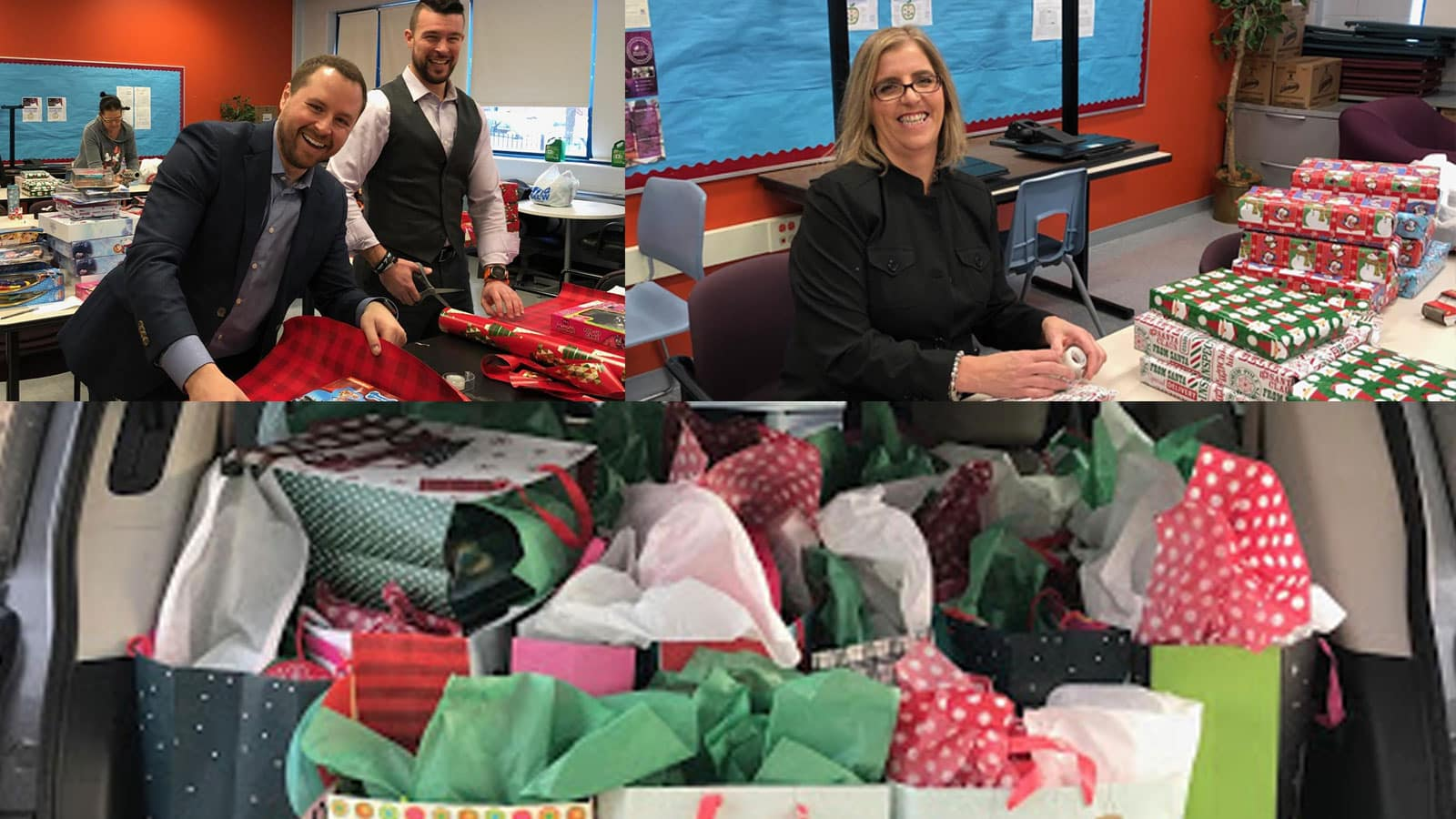 Berman Auto Group's Todd Berman, Elain Swift, and Anthony DeJesus wrapping and delivering present for Avondale-Logandale School
