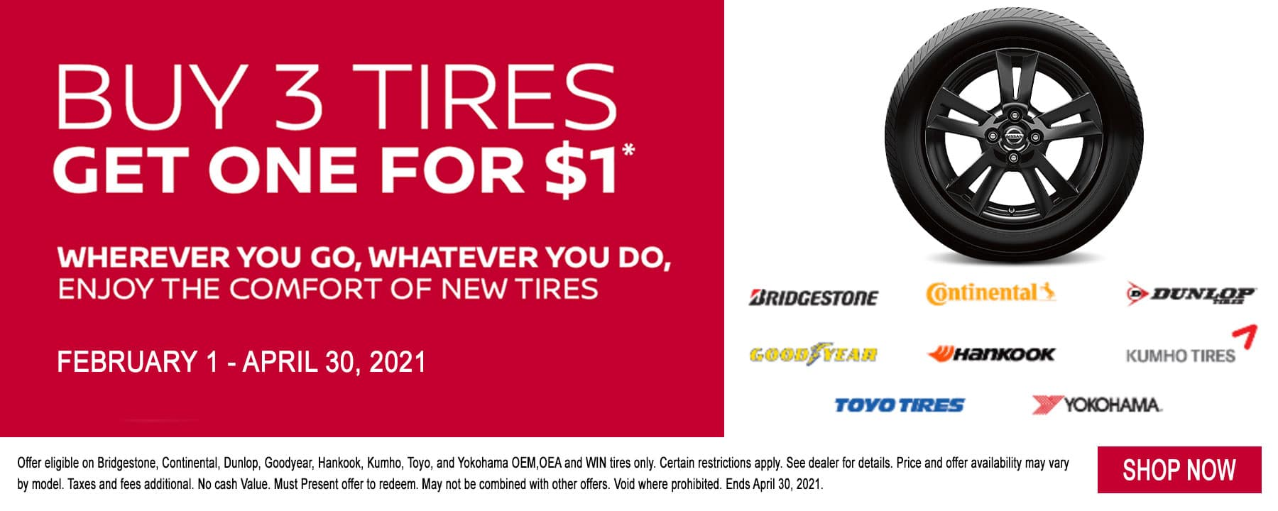 Berman Nissan of Chicago, now till April we are offering Buy 3 Tires Get One for $1