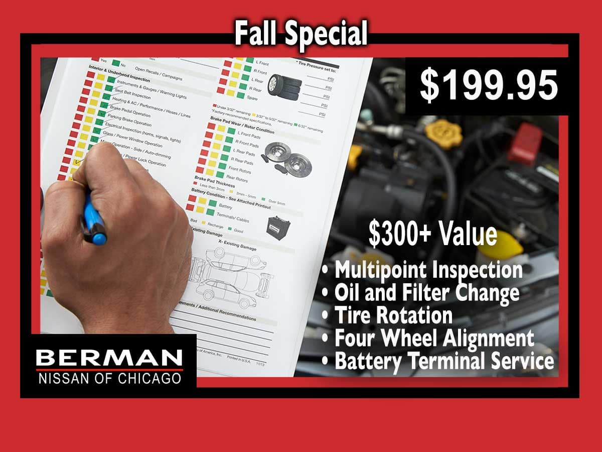 Fall Special: Multipoint Inspection, Oil & Filter Change, Tire Rotation, Wheel Alignment, and Battery Terminal Service only $199.95!