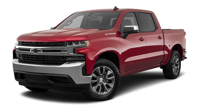 A red 2020 Chevy Silverado 1500 is facing left.