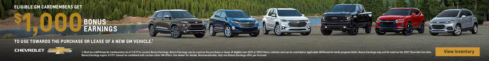ELIGIBLE GM CARDMEMBERS GET $1,000 BONUS EARNINGS TO USE TOWARDS THE PURCHASE OF LEASE OF A NEW GM VEHICLE.