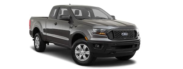 A black 2019 Ford Ranger is facing right.
