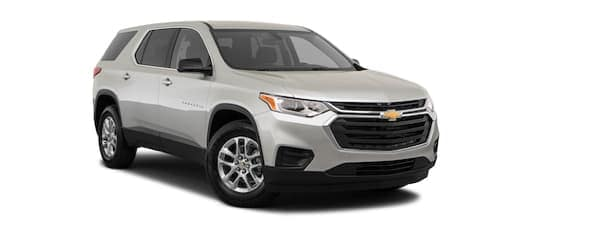 A silver 2019 Chevy Traverse is facing right.