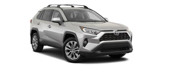 A silver 2019 Toyota RAV4 is facing left.