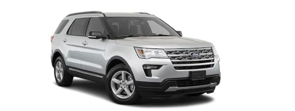 A silver 2019 Ford Explorer is facing right.
