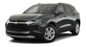 A dark green 2020 Chevy Blazer is facing left.