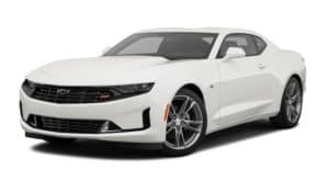 A white 2020 Chevy Camaro is facing left.
