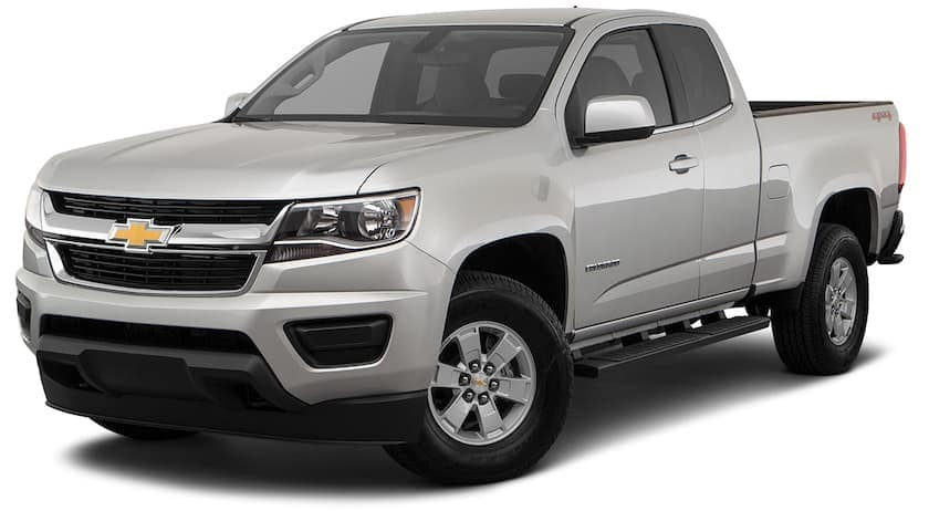 A silver 2020 Chevy Colorado WT is angled left on a white background.