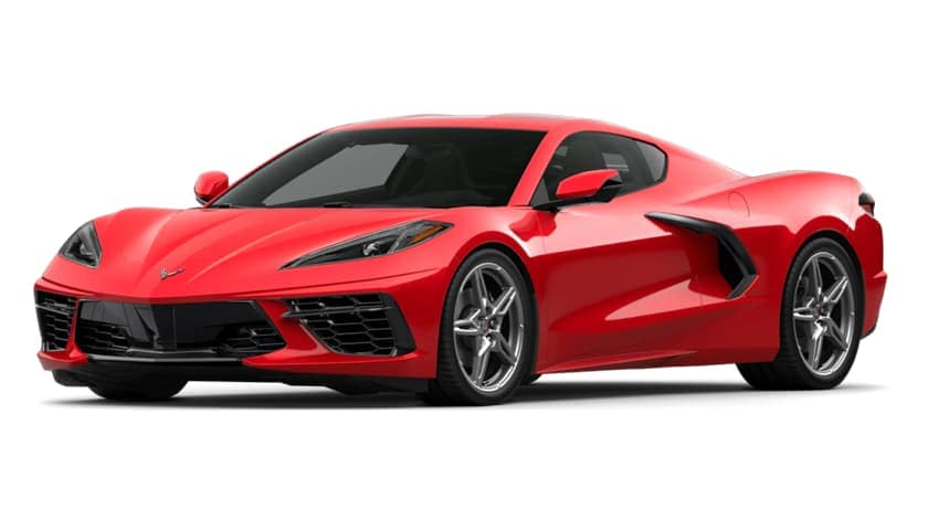 A red 2020 Chevy Corvette is facing left.