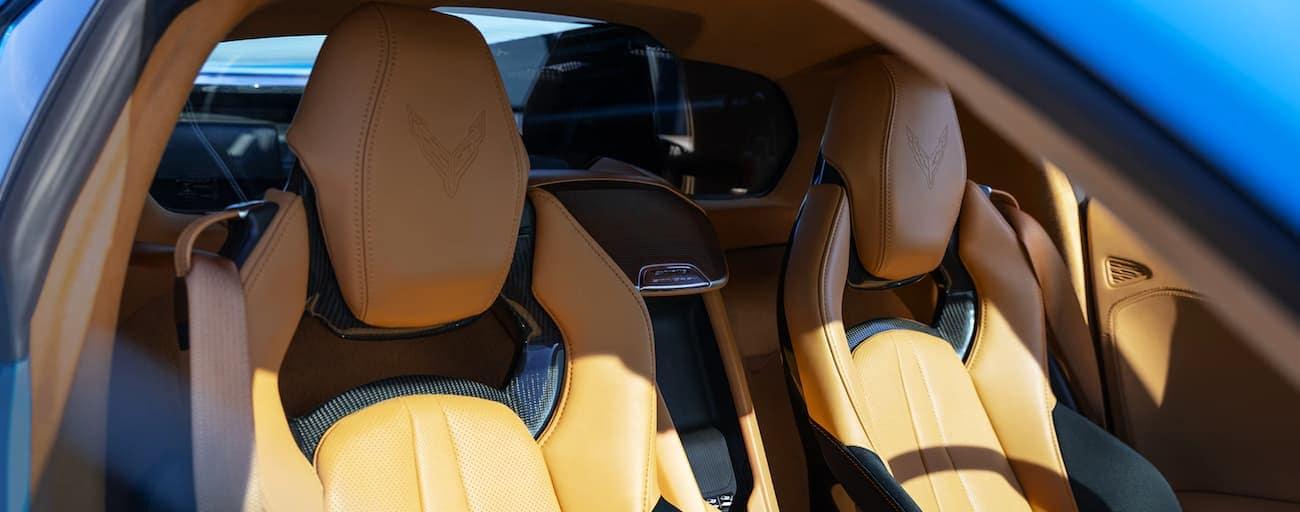 The tan seats in a 2020 Chevy Corvette are shown.