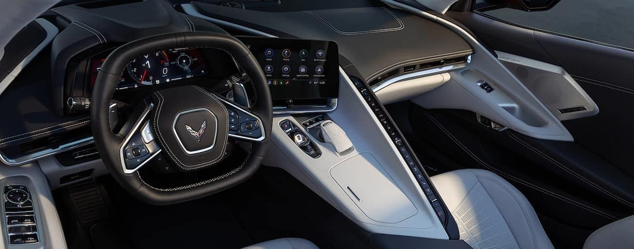 The dashboard and technology features are shown in a 2020 Chevy Corvette.