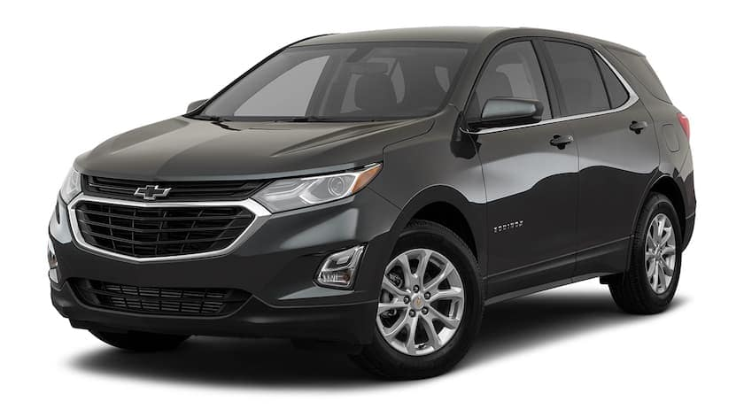 A black 2020 Chevy Equinox is facing left.