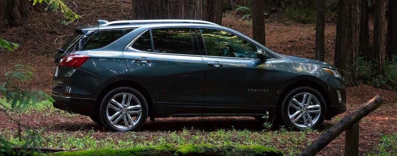 A dark blue 2020 Chevy Equinox is parked on a trail in the woods.