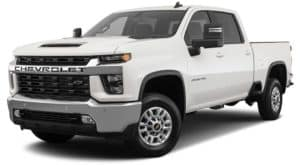 A white 2020 Chevy Silverado 2500 LT is angled left on a white background.